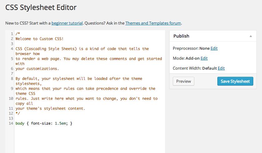 "Jetpack Custom CSS Module ""Edit CSS"""